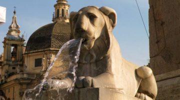 piazza del popolo fontana dei leoni